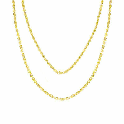 """10K Yellow Gold 2.5mm Rope Chain Diamond Cut Dainty Pendant Necklace 16""""- 30"""""""