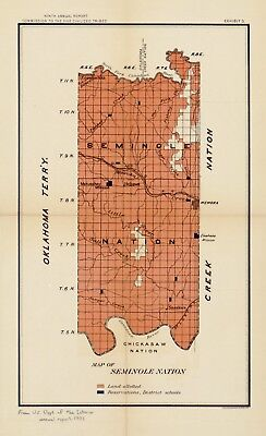 A4 Reprint of USA City Towns States Map Seminole Nation Indian Territory