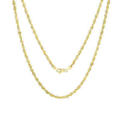 """10K Yellow Gold 3mm Italy Rope Chain Hollow Diamond Cut Pendant Necklace 16""""-30"""""""