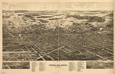 A4 Reprint of American Cities Towns States Map Findlay Ohio