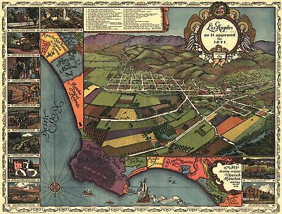 A4 Reprint of Old Maps Los Angeles As It Appeared In 1871