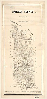 A4 Reprint of American Cities Towns States Map Morris County Texas