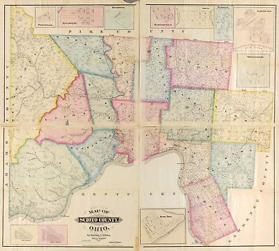 A4 Reprint of American Cities Towns States Map Scioto County Ohio