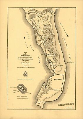 A4 Reprint of Lakes And Rivers Map Fort Fisher North Carolina