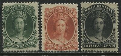 Nova Scotia 1860 3 values 8 1/2 cents through 12 1/2 cents mint o.g.