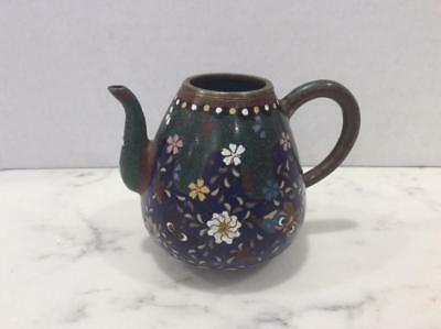 Antique Japanese Meiji Era Miniature Cloisonné Enamel Teapot / Goldstone, No Lid