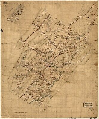 A4 Reprint of America Cities Towns States Map Rockbridge County Virginia