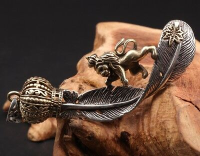 Christmas Gift 925 Silver Pendant Golden Feather Lion King's Noble Mascot