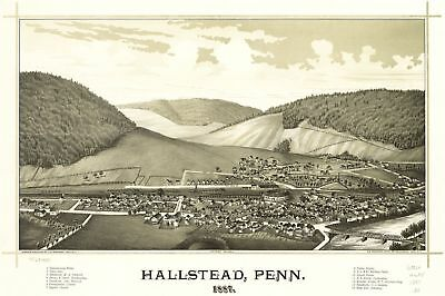 A4 Reprint of Old Maps 1887-1888 USA Hallstead Penn Map