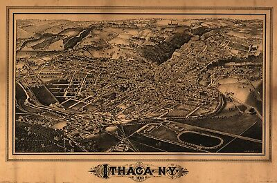 A4 Reprint of American Cities Towns States Map Ithaca Ny