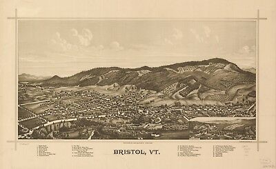 A4 Reprint of American Cities Towns States Map Bristol Vt