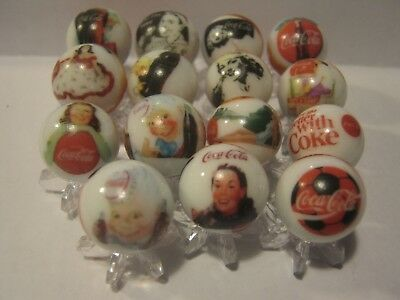 COCA COLA Soda pop Glass Marbles lot + Stands 5/8 size