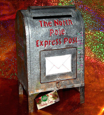 "14"" NORTH POLE EXPRESS RUSTIC MAILBOX Christmas decoration wish list holiday NEW"