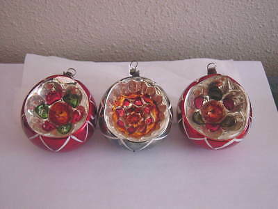 Lot of 3 Vintage European Fancy Glass Indent Christmas Tree Ornaments