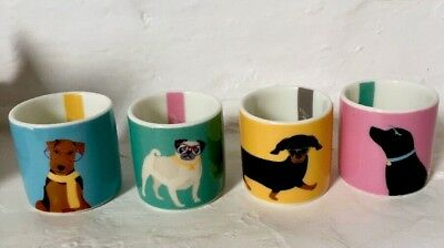 Joules Gift Set Boxed Egg Cups Set Four Dog Themed Porcelain Brand New In Box