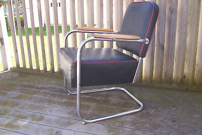 Machine Age KEM WEBER Art Deco 1930's Chrome Arm Chair