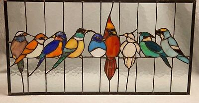 """Stained Glass Birds Colorful Glass Metal  Hooks Cardinal Blue Jay 24""""x13 Plastic"""