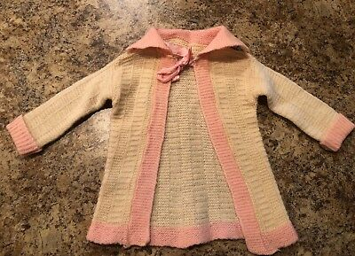 Vintage Knitted Baby Girl Sweater Cardigan Super Cute