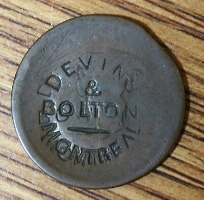 Devins and Bolton  Counterstamped Canada Half Penny