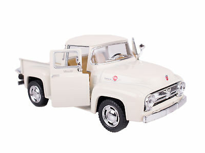 """1956 Classic Ford F-100 Pick-Up Truck 5"""" Pull Back Die Cast Model, White"""