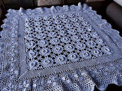 Vintage intricate white hand crocheted square tablecloth