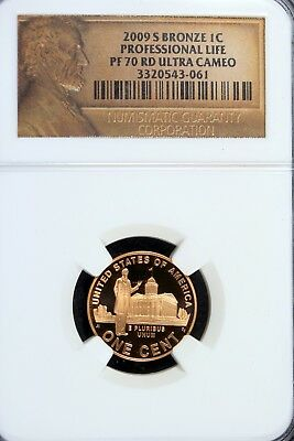 2009 - S PF70RD NGC ULTRA CAMEO BRONZE Professional Life Lincoln Cent!!  #B16536