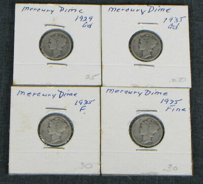 Lot Of 4 Mercury Dimes 1 1929, 3 1935, Home Mounted