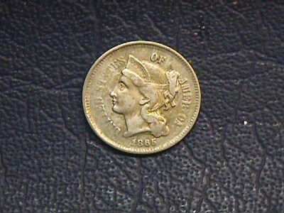 1865 [N] 3 Cent Coin In Very Good Condition. Free Shipping.