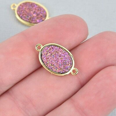 2 PINK Druzy Quartz Gemstone Charms gold oval connector link 20mm chs5182