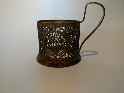 Antique Silver Filigree Holder Tea Siommet Russia Cup Mug