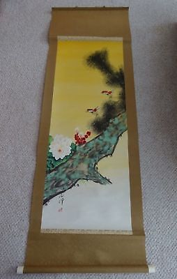 Vintage Antique Signed Asian Silk Scroll Painting-Colorful Birds Flowers & Tree