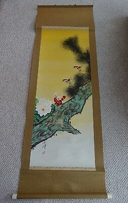 Vintag Antique Signed Asian Silk Scroll Painting - Colorful Birds Flowers & Tree