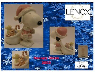 "Lenox Peanuts ""Snoopy Claus"" Figurine Carrying Toys from 2002"