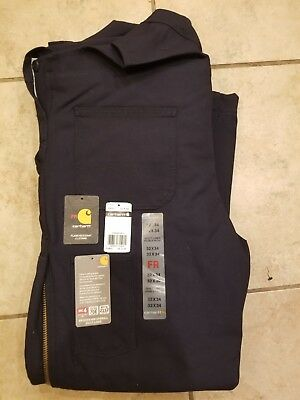 NWT Carhartt 101626 FR Navy Quilt Lined Double Front Bib Overalls Sz 32x34