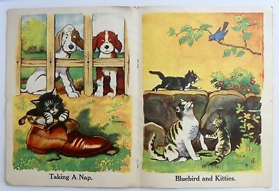 Vintage Lang Campbell Illustrated 12 Page Booklet Of Dogs & Cats Pictures