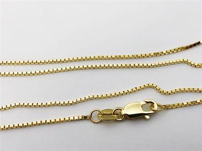 """10K 18/"""" Inches .8mm Solid Yellow Gold Classic Box Link Necklace Pendant Chain"""