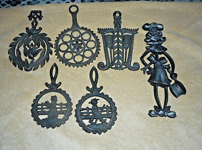 Vintage lot Cast Iron Trivets/Wall Hangings Wilton,Sexton,Staples,JZH