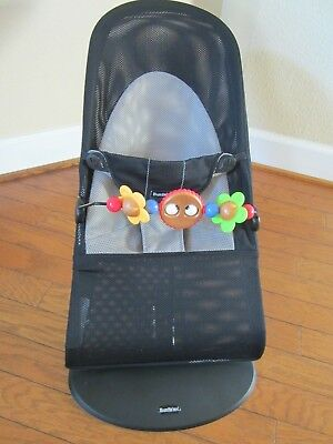 Baby Bjorn Bouncer Balance Soft Black dark Gray Cotton with Toy Bar Googly Eyes