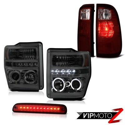L.E.D Halo Headlights Red Third Brake LED Black Taillights 08-10 Ford F350 SD