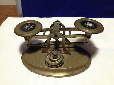 Antique English Brass Pennyweight Scale w/ Pietra Dura Mosaic Insets