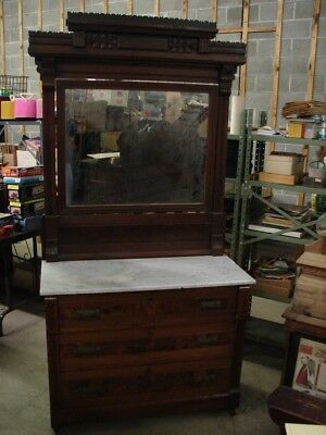 Antique Eastlake Victorian Walnut Marble Top Dresser w/ Mirror - PRICED TO SELL