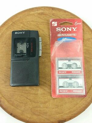 Sony M-330 Micro Cassette Recorder Two-Speed One Touch Recording + 4 Blank Tapes