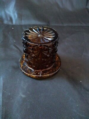 """Vintage Amber/Brown  Glass Top Hat - 2"""" Tall"""