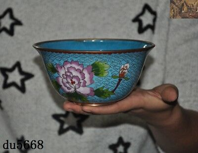 Old Chinese dynasty bronze Cloisonne peony flower pattern bowl bowls cup statue