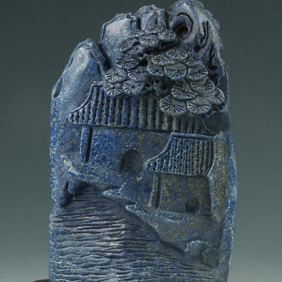 Chinese Exquisite Hand-carved Natural landscape carving Lapis Lazuli statue