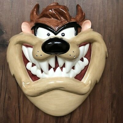 Vintage Looney Tunes Taz 3D Ceramic Wall Mask Warner Brother 1994