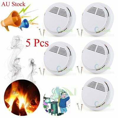 AU 5x Photoelectric Smoke Alarm Detector Warning Sensor Monitor System + Battery