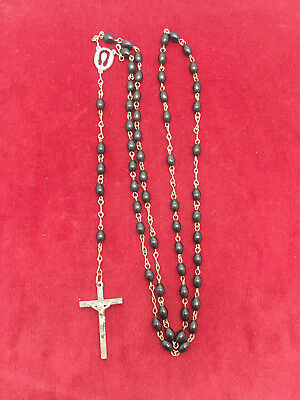 """Real Nice Old Antique Vintage 21"""" Black Beads Rosary"""