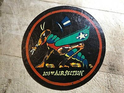 WWII/WW2 USAF? Leather PATCH 103rd Air Section Hand Painted by Captain Wilson!