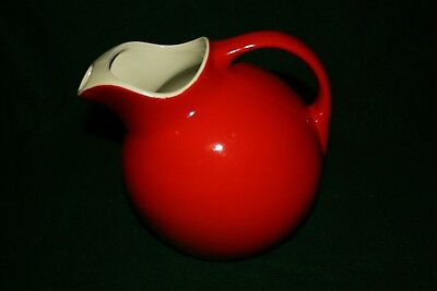 Vintage HALL Superior Red Ball Pitcher w/ Ice Lip , Made in the USA